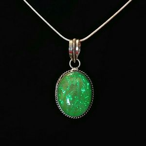 Green Opal Sterling Silver Necklace Snake Chain